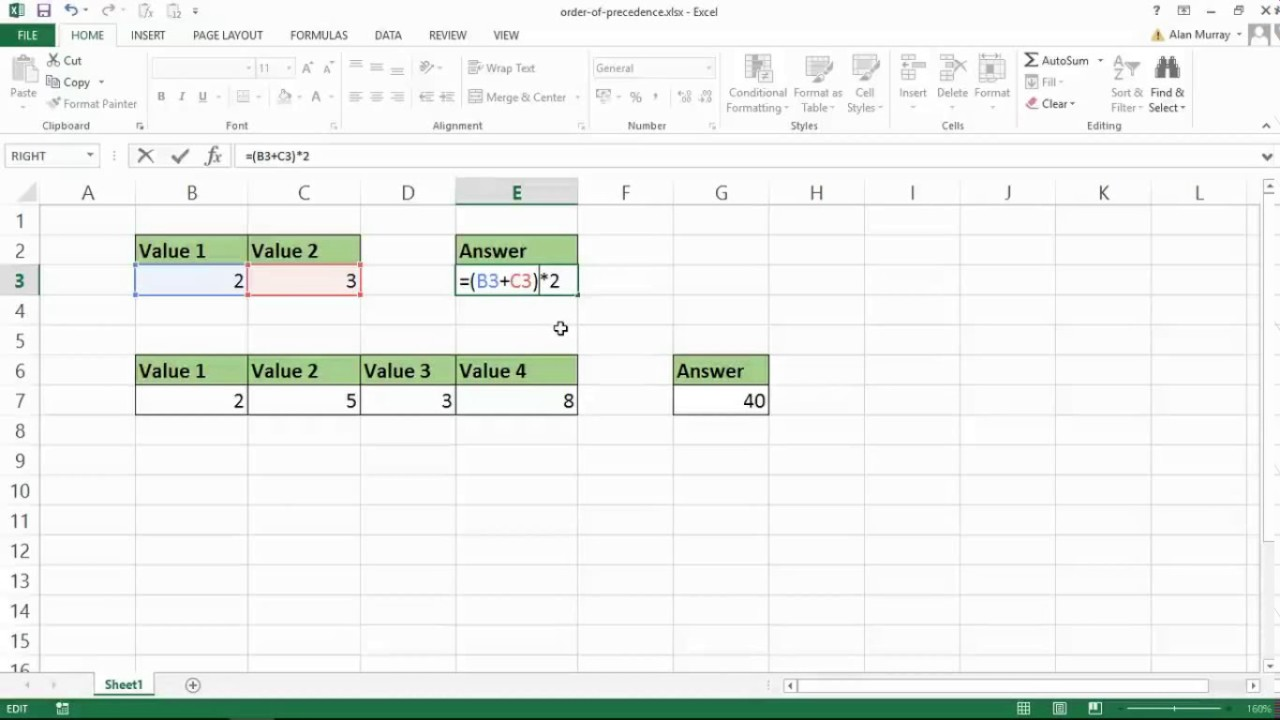 Learn Excel Formulas Part 20 Order of Operations   BODMAS Rule