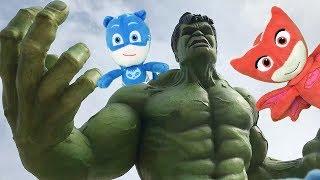 Pj masks en español con Hulk & Iron man: superheroes en Disneyland Paris!.Videos heroes en pijamas
