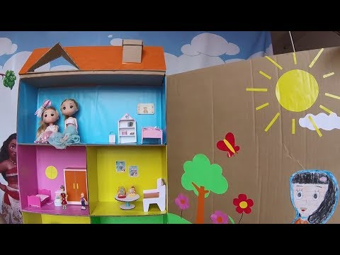how to make doll house using cardboard