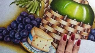 Garrafão uvas e queijo – Vídeo 4 – Pintura em tecido