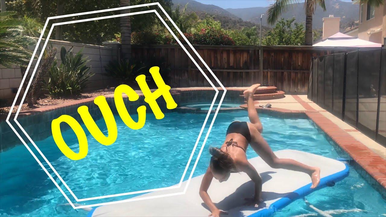 Gymnastics Tumbling Challenge in the Pool