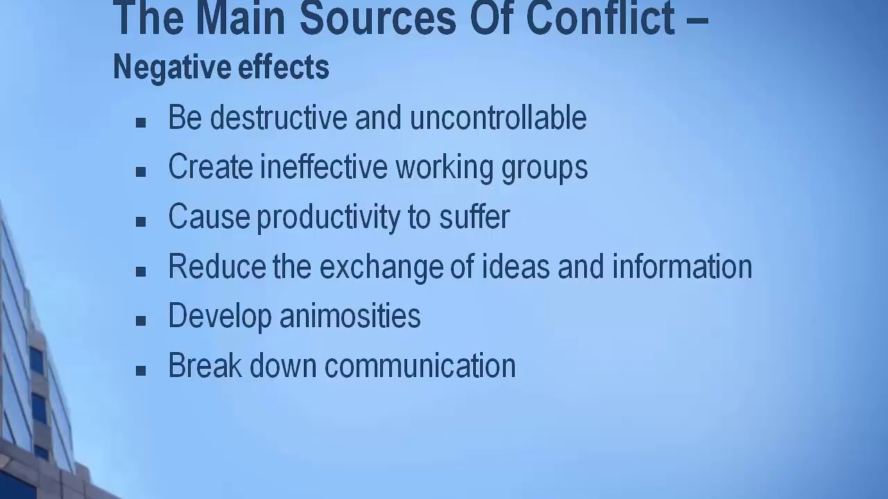 sources of conflict 06112014 conflict is a reality that we face every day in projects the constant nature of conflict was brought home to me by mark horstman, co-founder of manager.