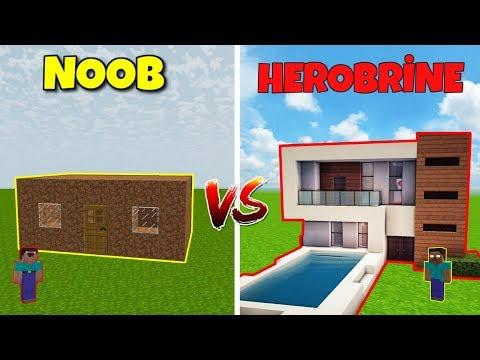 NOOB VS HEROBRİNE (Ev Yapmak) - Minecraft thumbnail