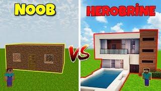 NOOB VS HEROBRİNE (Ev Yapmak) - Minecraft