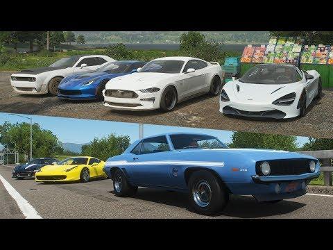Forza Horizon 4:Supercars vs Muscle cars | 720S Battles Demon, C7Z06 // Yenko SS vs 458, GT3 & More thumbnail
