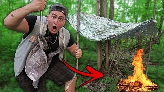 Catch and Cook Survival Challenge!! (No Food or Water)