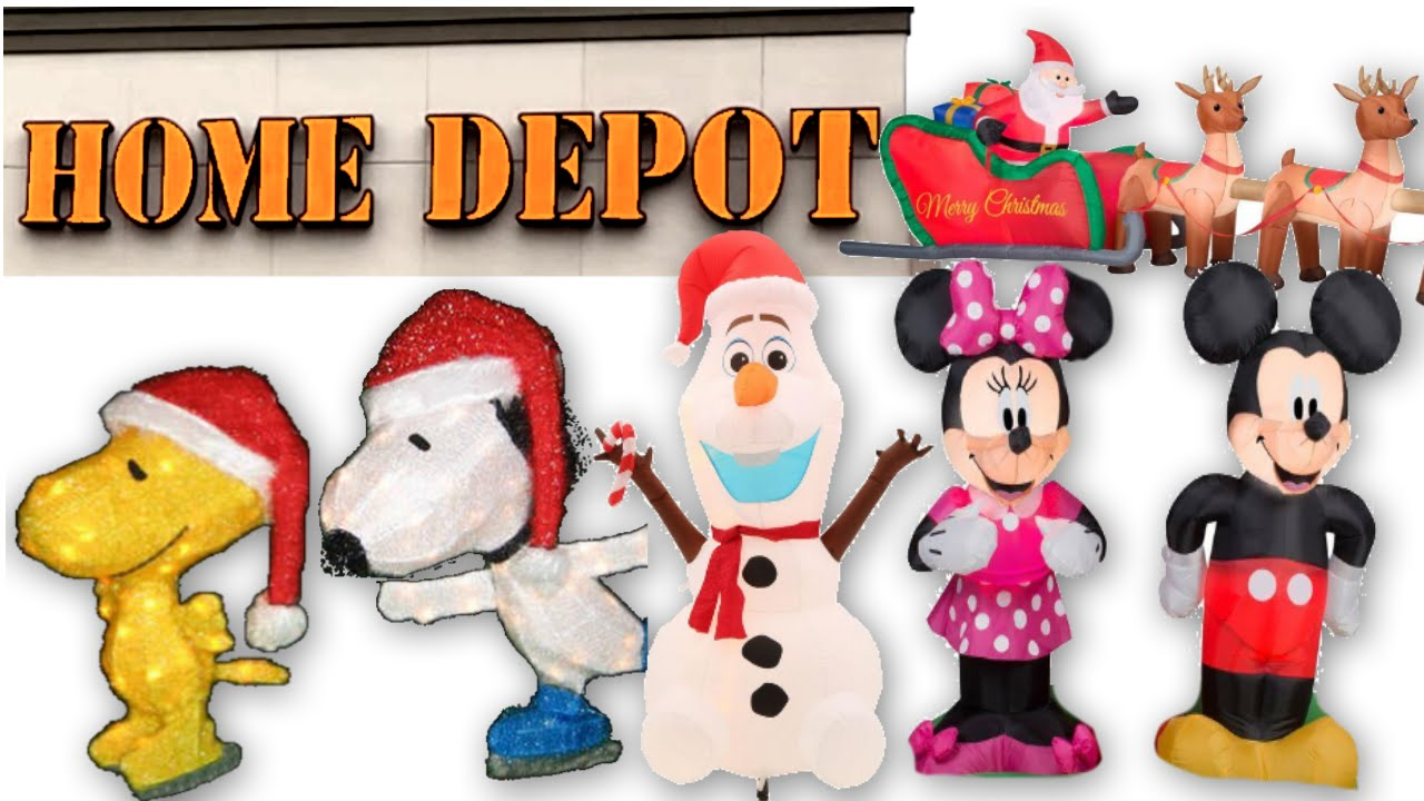 christmas store tour home depot mickey mouse snoopy olaf inflatables christmas lights youtube - Snoopy Christmas Lights