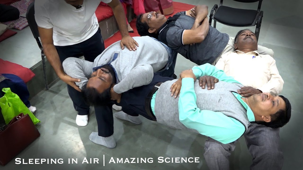 Download Sleeping in Air | Amazing Science - The Four Person Chair Trick