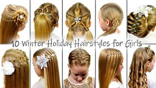 10 Winter Holiday Hairstyles for Girls | New Year's Eve Hair Ideas | Hairstyles by LittleGirlHair