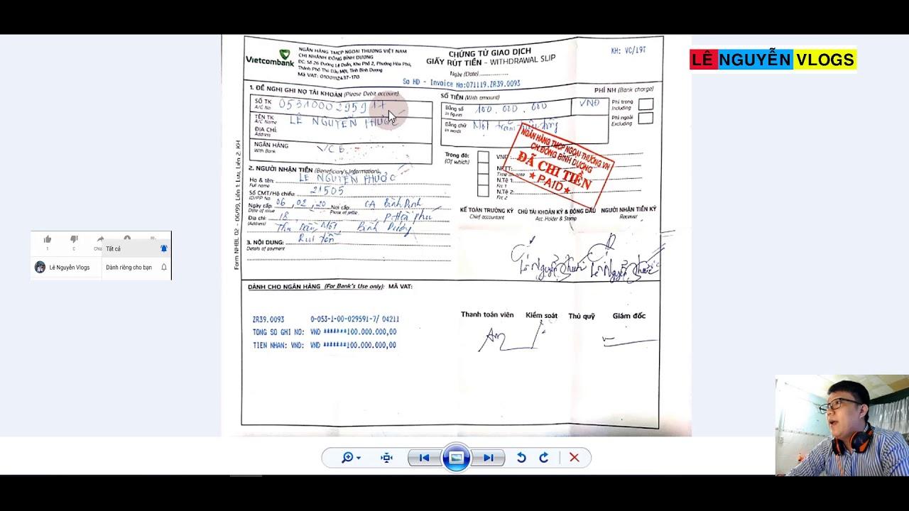 Hướng dẫn cách rút 100 triệu trong quầy ngân hàng - Rút tiền không dùng thẻ - Lê Nguyễn Vlogs