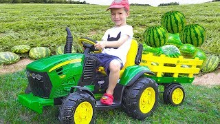 Darius Rides on Tractor \ Kids Pretend Play riding on Truck Toys gathering watermelon