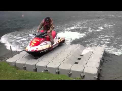 Aqua-Dock Pontoons - Jet Ski Drive On Dock UK - YouTube