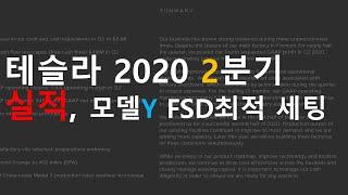 테슬라2020 2분기 실적, 모델Y FSD 최적 세팅