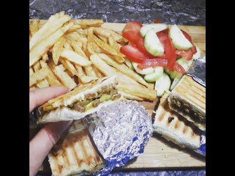 بانيني بالكفتة حشوة سريعة ولذييذة جدااا🌭مع سر قرمشة البطاطس المقلية لن تصدقوها مثل المطاعم  روووعة