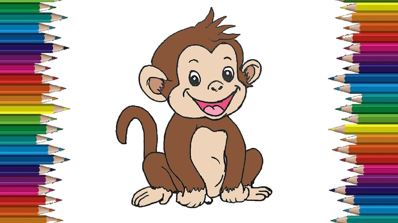 How To Draw A Baby Monkey Cute And Easy Cartoon Monkey Drawing Step By Step Youtube
