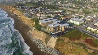 Houses Teetering on the edge of a cliff. (Esplanade Ave, Pacifica Californa) 4K