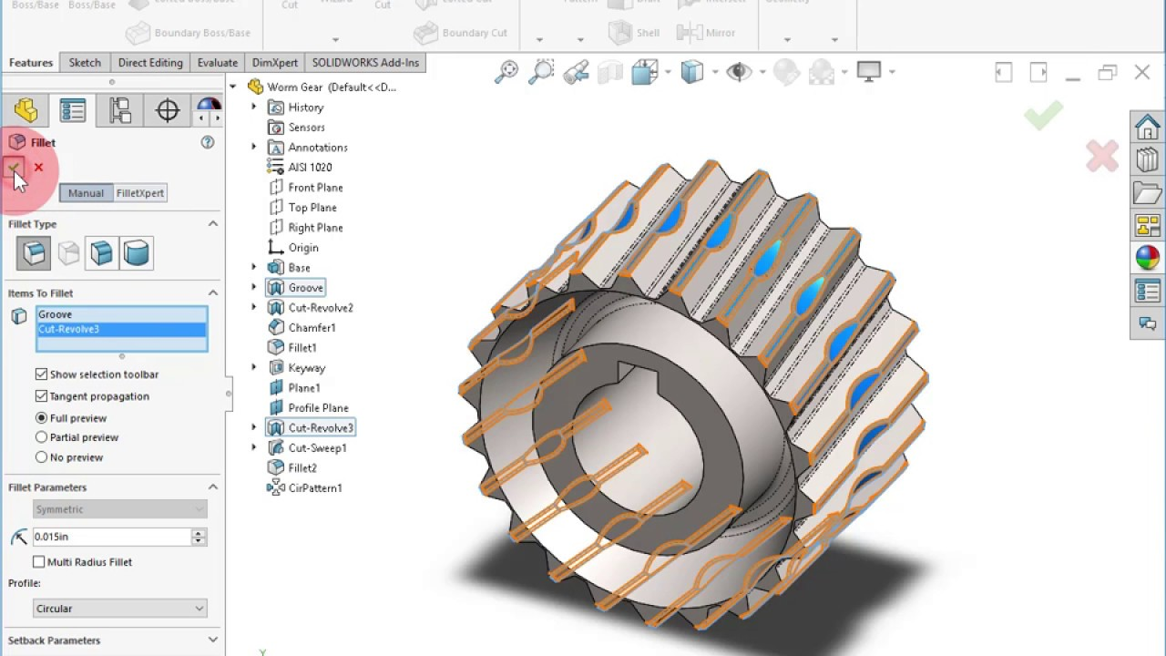 Creating a Worm Gear in SOLIDWORKS 2017