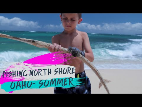 SURF FISHING The North Shore Of OAHU, Hawaii In The SUMMER-Catching FISH & Watching TURTLES