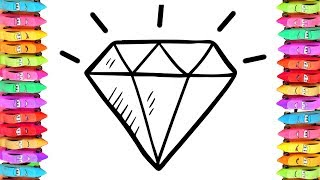 Coloring Pages Colorful Diamond With Jellytoys  How to draw Diamond and Art Colors for Kids
