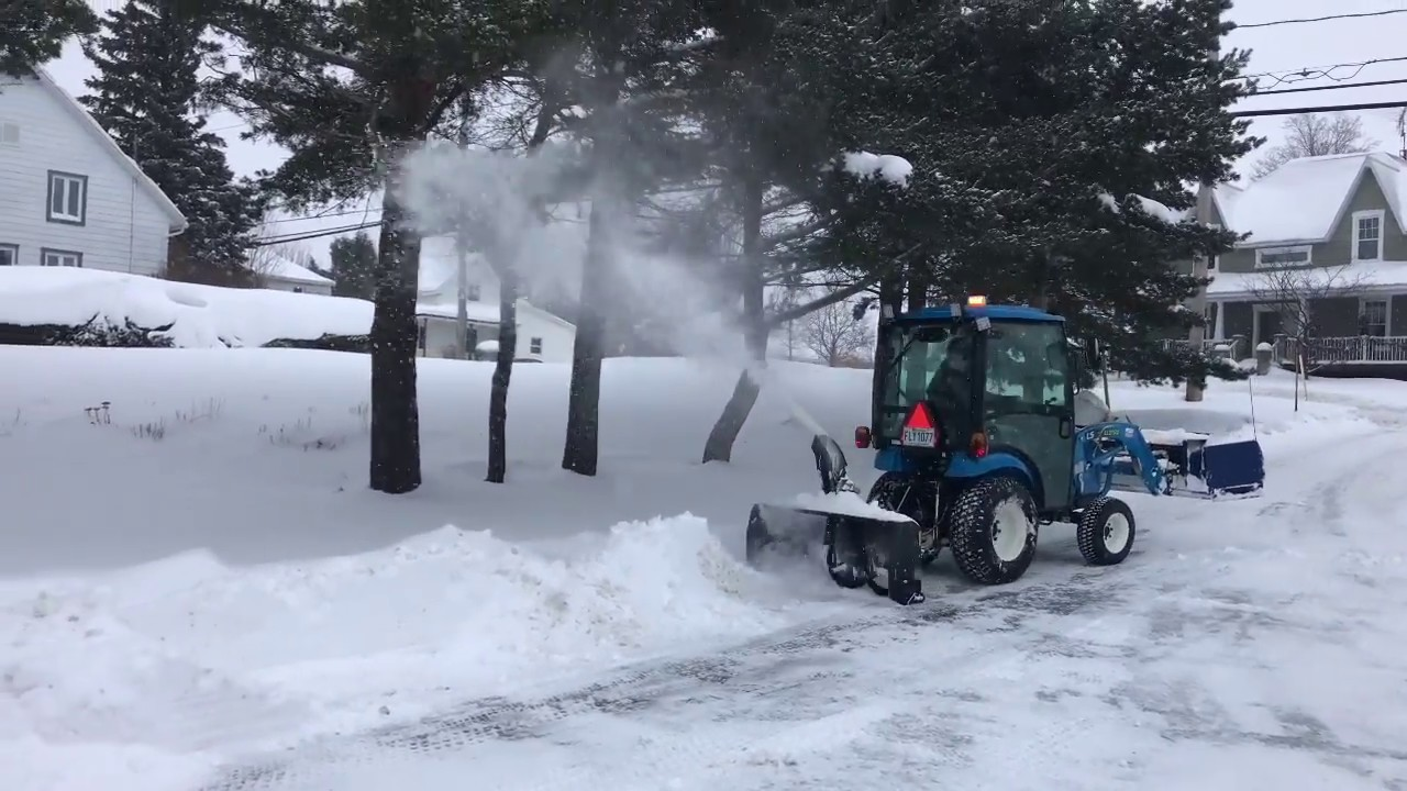 Ls Xj2025 H Snowplowing With 8 Foot Pusher And Berco Snowblower