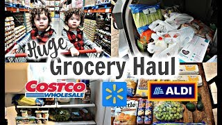 HUGE GROCERY HAUL! COSTCO, WAL-MART & ALDI | STOCKING THE PANTRY!
