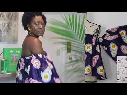 DIY-How to make an off shoulder top with ntoma (ankara)