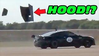 Nissan GT-R Hood FAIL at 180MPH!!!