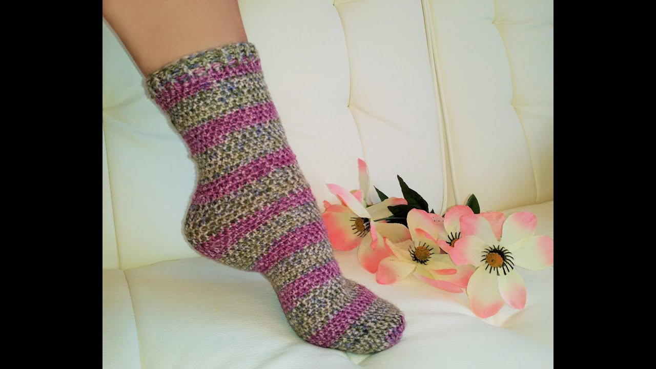 Crocheting Socks : Glamas Easiest His & Hers Crochet TUBE SOCKS Everrrr! - YouTube