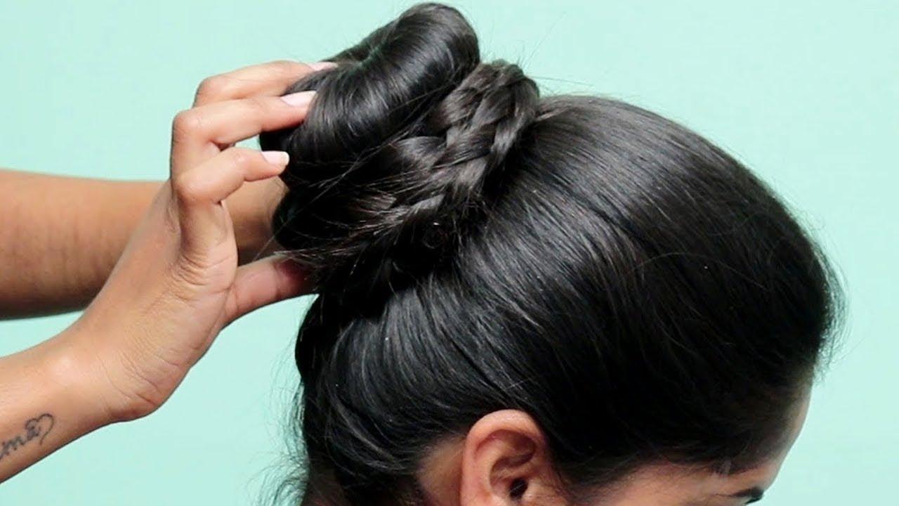 simple bun hairstyle for medium hair girls!! hairstyle | hair bun | hair hacks || easy bun hairstyle