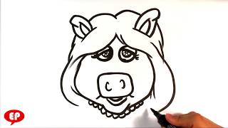 How to Draw Miss Piggy - Easy Pictures to Draw