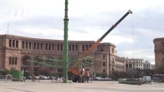 Երևանում տեղադրվում է գլխավոր տոնածառը