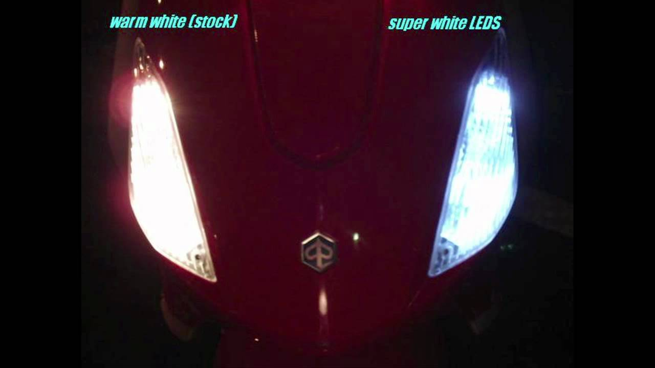 Piaggio Fly 50/150 Leds in front running lamps - YouTube