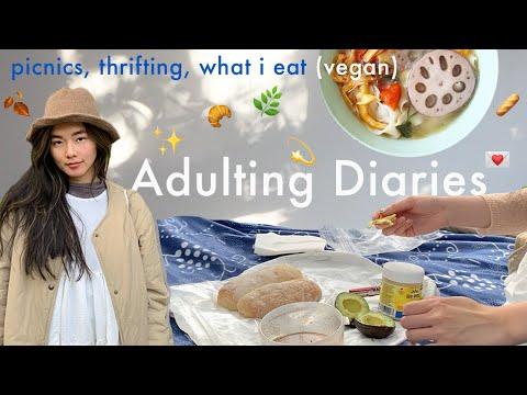 BILINGUAL VLOG 🍄 montréal picnics, thrifting, what i eat in day (vegan) | ADULTING DIARIES