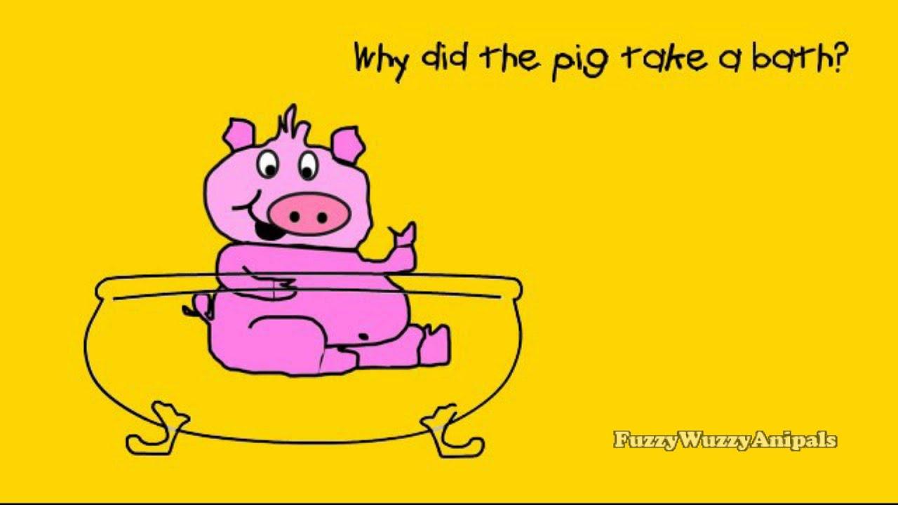 silly jokes pig joke kid funny take bath children toddler dumb preschool