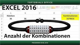 Kombinationen berechnen Fahrradschloss / Zahlenschloss (Excel)