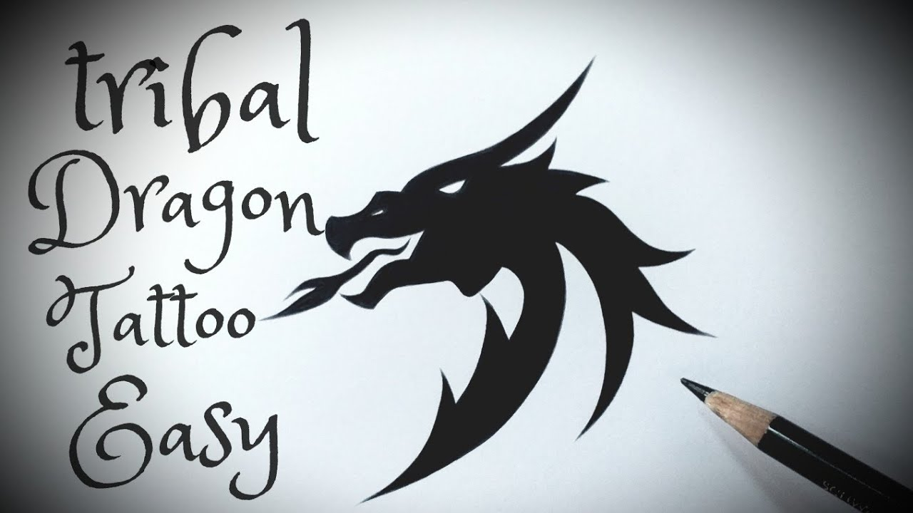 How To Draw A Tribal Dragon Tattoo Easy Step By Step Drawing
