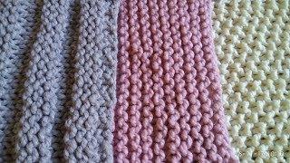 Краткий МК как связать стильный розовый шарф платочной вязкой.