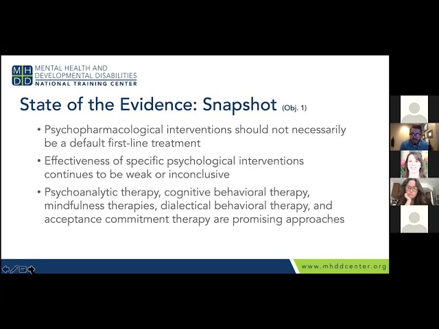 MHDD Continuing Ed Series: Evidence-Based Interventions for Clients with Developmental Disabilities