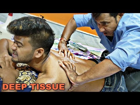 Spine pain relief Deep Tissue massage with cream   Foot & Leg Cracking   Indian ASMR