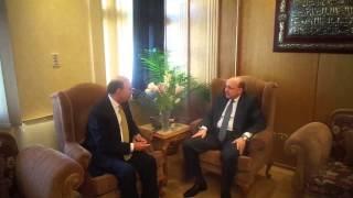 وزير الصحة يلتقى الفريق مميش فى زيارة الى قناة السويس الجديدة