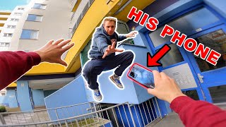 ESCAPING ANGRY PARKOUR ATHLETE  (Epic Parkour POV Chase in Berlin)
