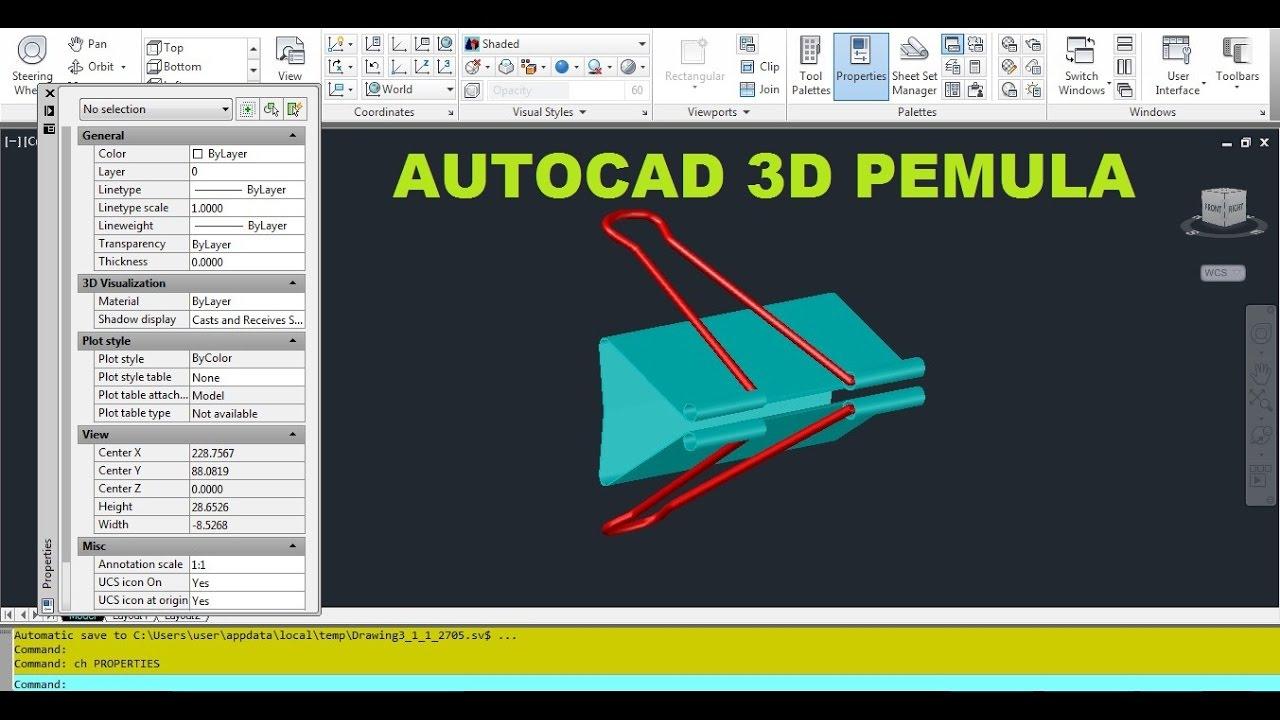 Cara Gambar 3d Menggunakan Autocad Bagi Pemula - YouTube
