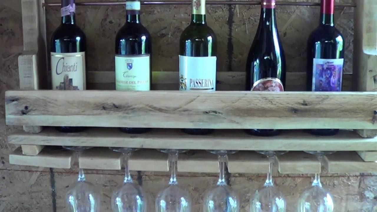 Cantinetta porta bottiglie e calici per vino materiale riciclato pallet youtube - Porta bottiglie ...