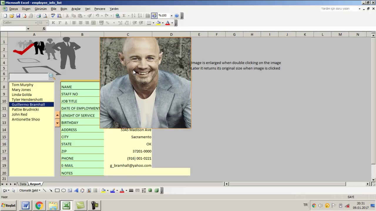 excel employee database with images youtube