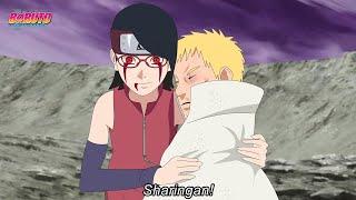 Sarada despertar seu sharingan Final para salvar Naruto com ajuda de Boruto - Boruto Episódio 205