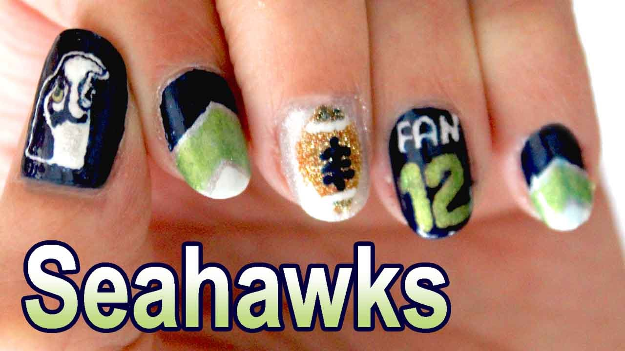 Seattle Seahawks Nail Art 🏈 (2015) - YouTube