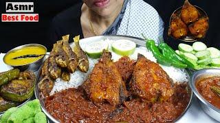 Asmr Best Masala Fish Curry Eating with Rice Mukbang