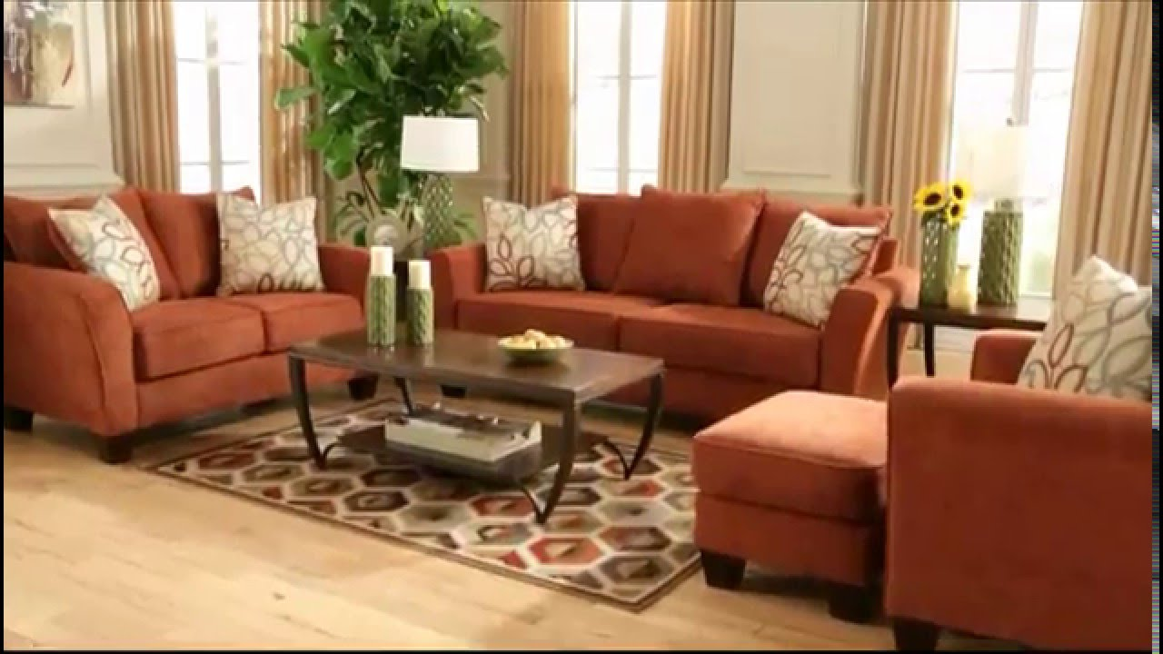 Ashley Furniture HomeStore - Corson Sofa (Rust) - YouTube
