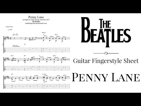 The Beatles - Penny Lane (Guitar fingerstyle tabs and sheet) FREE!