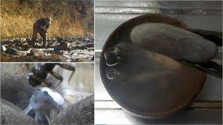 今年最後のカジカの穴釣り、熱した石のわっぱ汁でいただきます!!